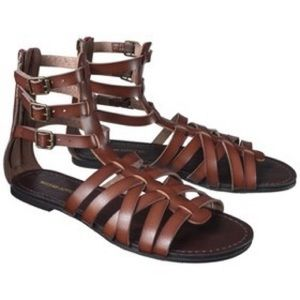 Pam Gladiator Zipper Sandals Cognac
